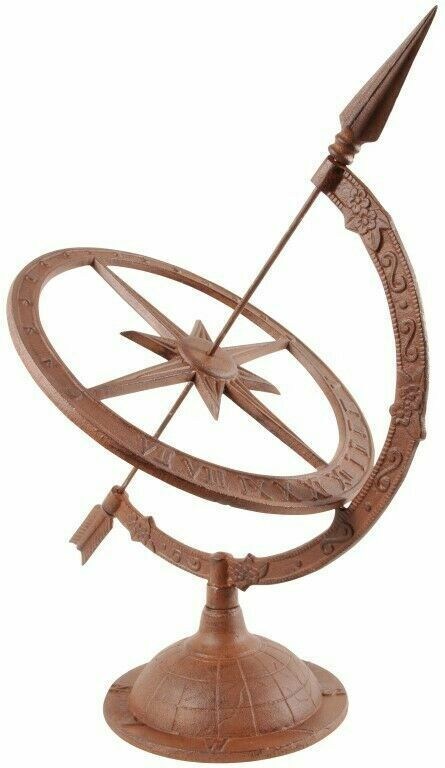 Vintage Style Large Cast Iron Brown Sundial Garden Accessory