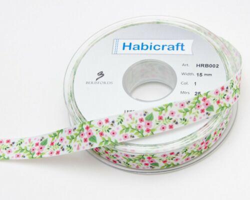 Rose Fleur Abeille taffetas 15 mm Ruban Berisfords pour habicraft Craft 1 m
