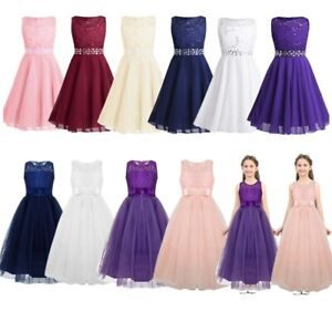 28e6a76c7bee Image is loading Kids-Wedding-Flower-Girl-Dress-Formal-Bridesmaid-Princess-