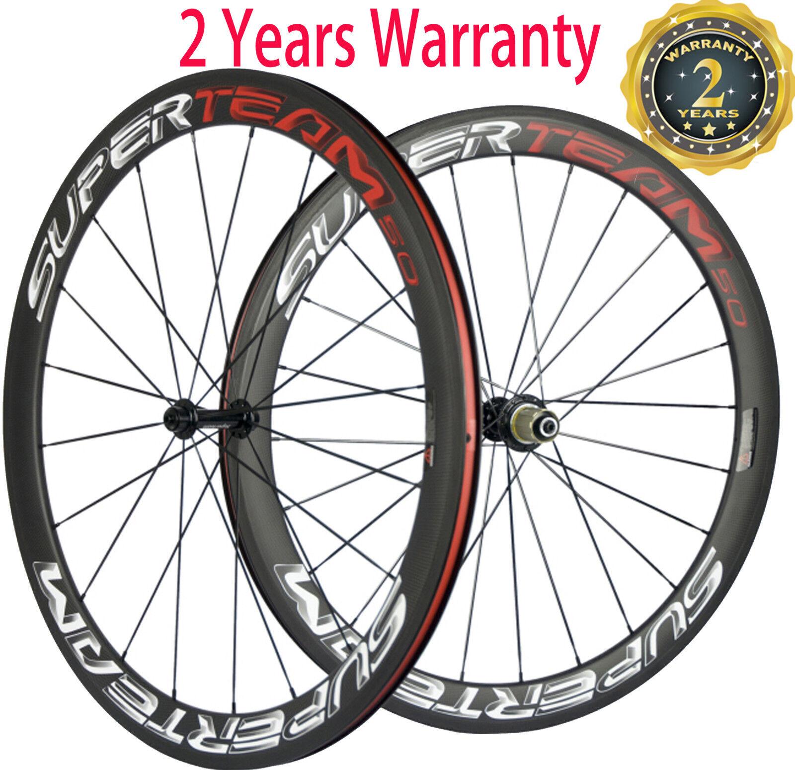 Superteam 50mm Carbon Fiber Road Bike Clincher  Wheels 23mm Bicycle Wheelset  store online