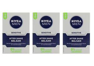 3x-100ml-Nivea-MEN-Sensitive-After-Shave-Balsam-0-Alkohol-kein-Brennen-beruhigt