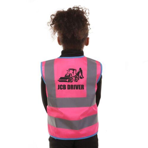 PREMIUM KIDS JCB DRIVER DIGGER HI VIS VIZ VEST WAISTCOAT JACKET  3 COLOURS