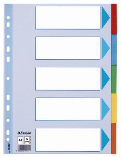 blanko farbige Taben weiß Karton 5 Blatt Register Esselte 100191 A4