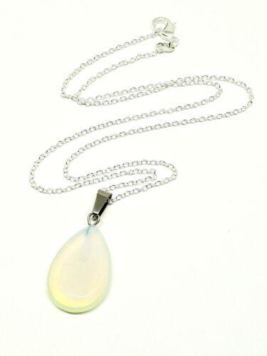 Pera Lágrima Colgante de piedras preciosas Opalite Piedra de Curación Chakra Cadena Collar UK