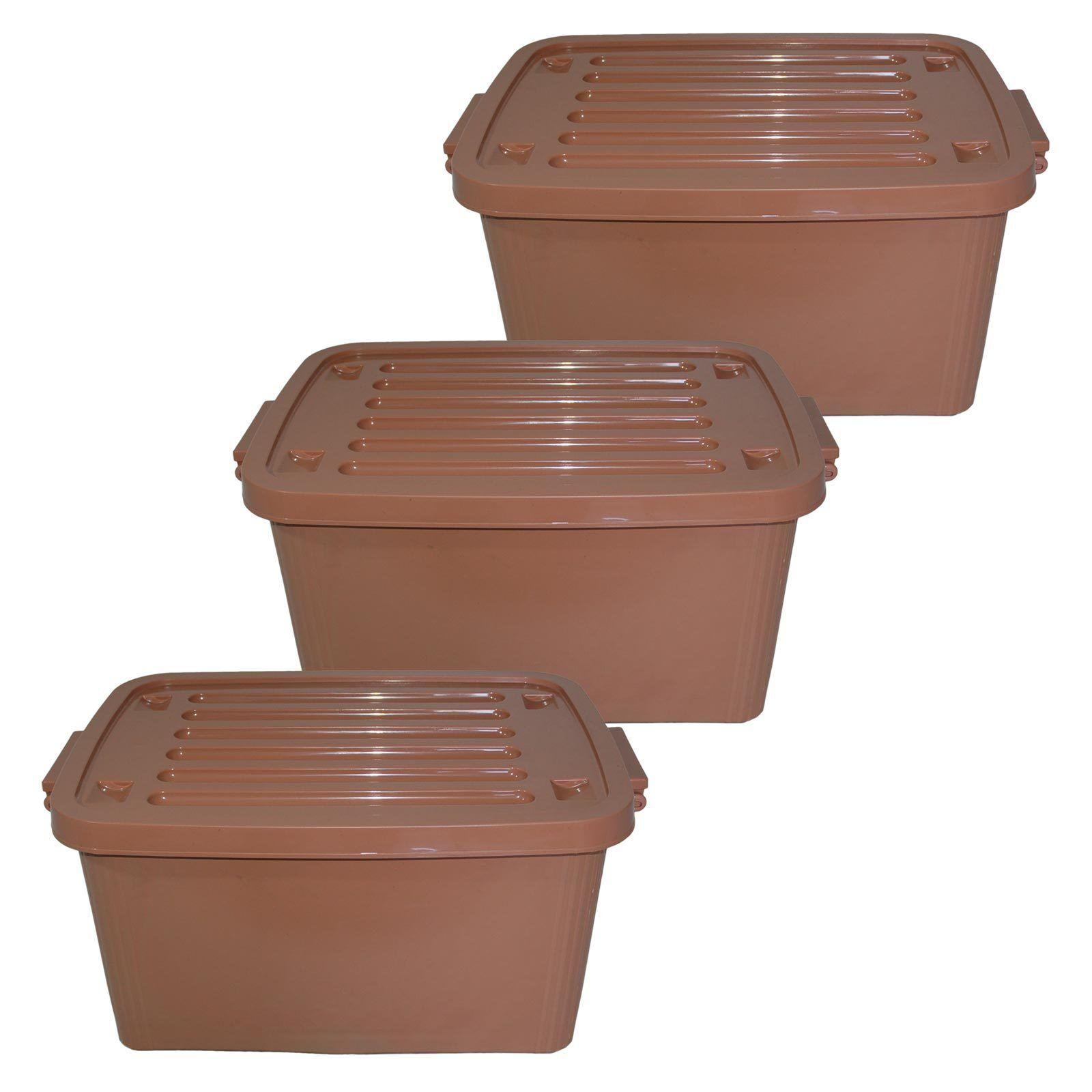 3er Set Plastik-Rollenbox Deckel 45 Liter braun Kunststoffbox Spielzeugkübel Box