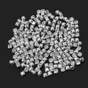 200Pcs-Sew-On-Crystal-Glass-Diamante-Rhinestones-Silver-Setting-4mm-DIY-New