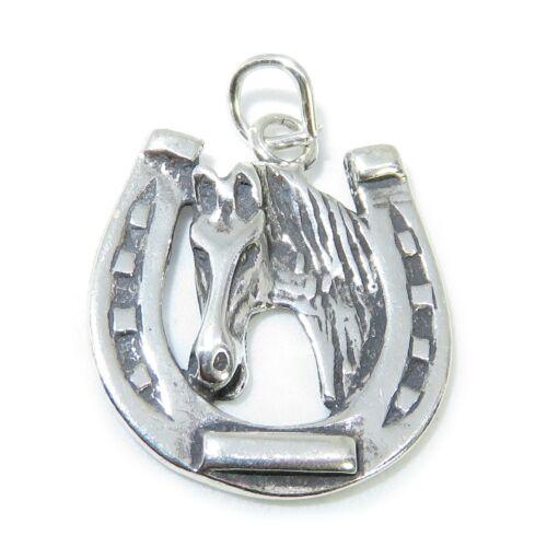 Hufeisen Mit Pferd Sterling Silber Anhänger .925 X 1 Pferde Anhänger