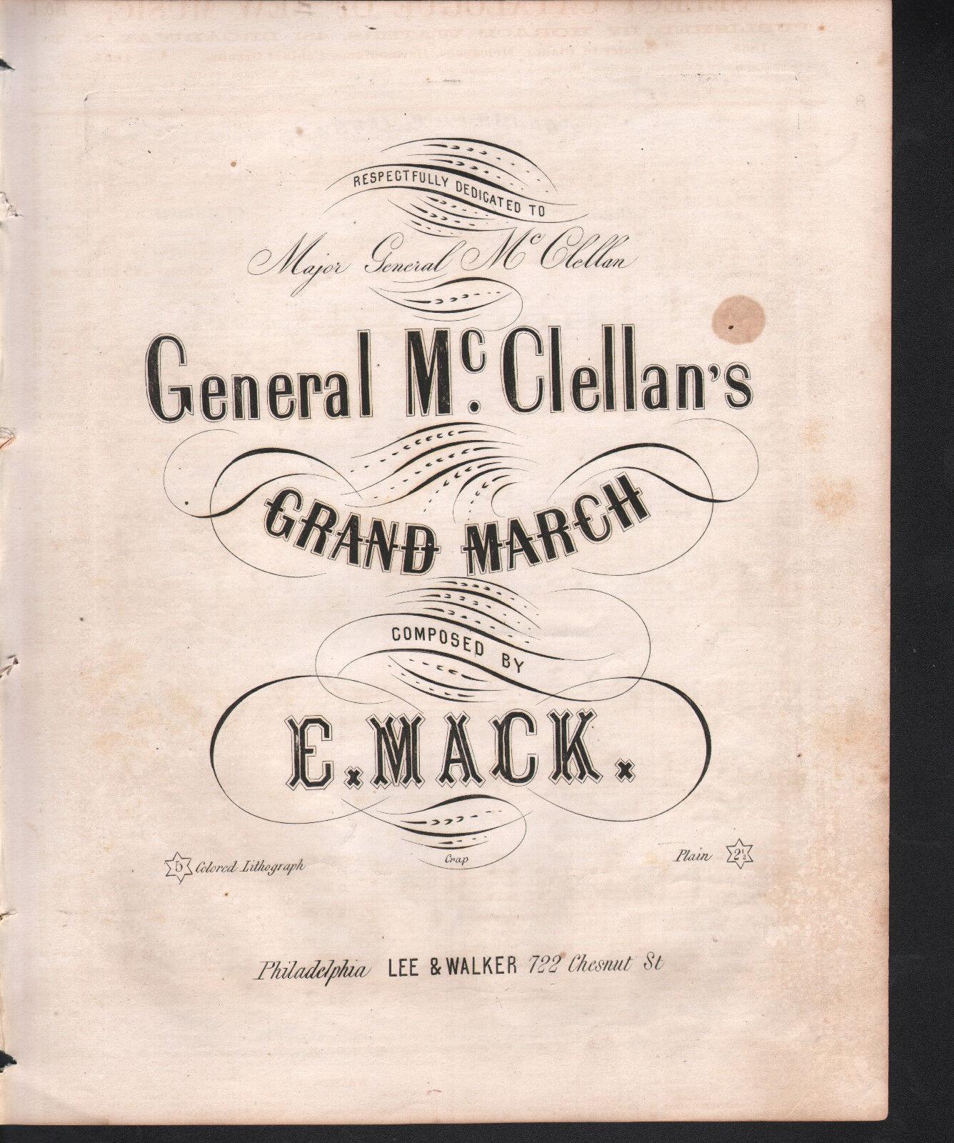 General McClellan's Grand March 1861 Sheet Music