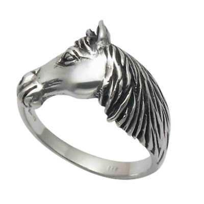 SE1065 Small Oxidized Sterling Silver Horse Head in Horseshoe Stud Earrings