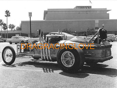 "Colours Are Striking Beautiful ""the Munsters"" Grand Pa's ""drag-u-la"" George Barris Built Rail Dragster Photo Racing-nhra Black & White"