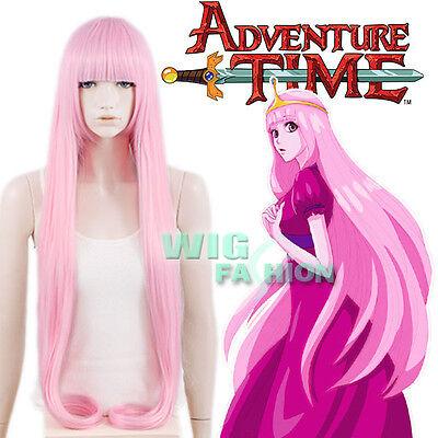 Adventure Time Princess Bubblegum Long Straight Pink Anime Cosplay Wig