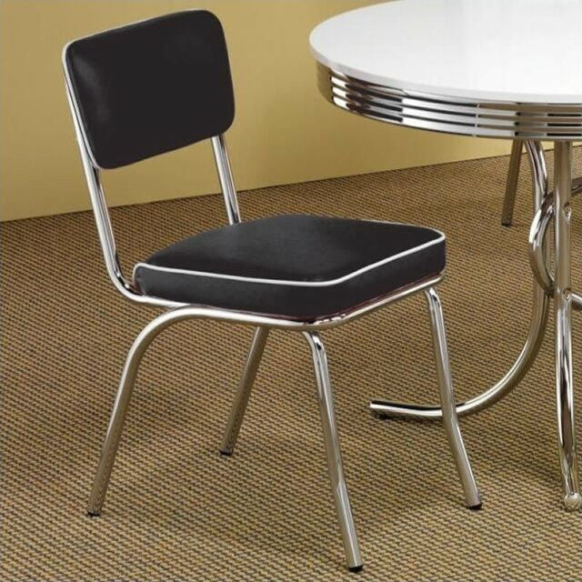 Single Coaster Company Black Chrome Plated Retro Dining Chair For Sale Online Ebay