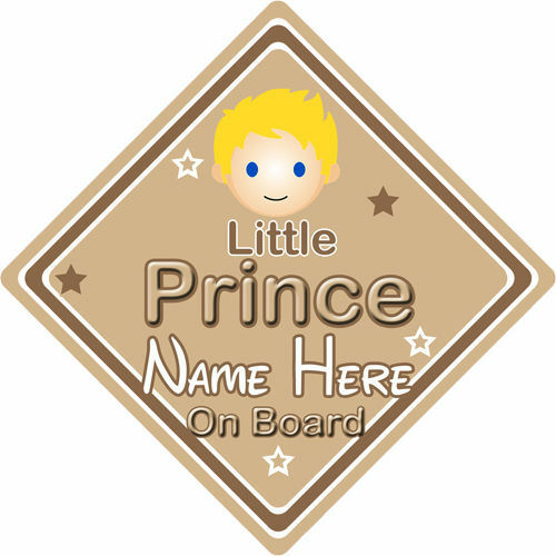 Personalised Child//Baby On Board Car Sign ~ Little Prince On Board ~ Blonde
