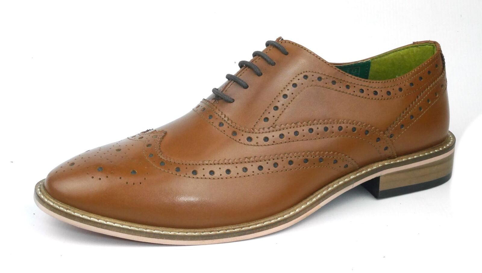 Frank James Zeno Brogues Lace Up Formal Mens Leather shoes Tan Brown Sizes