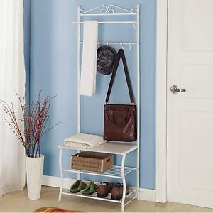 metal coat stand hanging clothes rail wall shoe storage