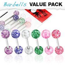 NUOVO Pacco Da 6 Acciaio Chirurgico Barra Tongue barbells con Acrilico Glitter Palle 14g