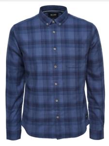 Solo AND SONS Cooper Slim Fit Manica Lunga Casual da Uomo Check camicia taglia S-L nuova con etichetta