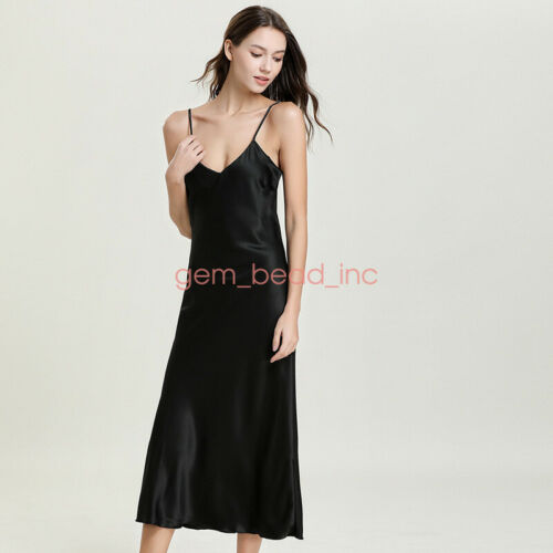 Ladies Fashion Satin Silk Sleepwear Night Dress Lingerie Night Long Dress Skirt