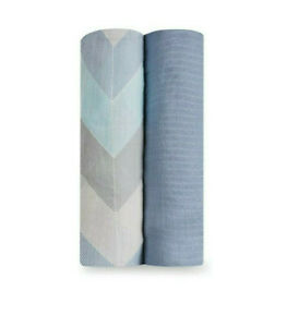 New NWT Aden + Anais Ziggy Blue Silky Bamboo Muslin Swaddle Blanket Set 2 Pack