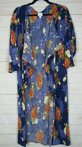 Lularoe-Donna-SHIRLEY-Blu-Floreale-Velato-Kimono-Taglia-M-Nuovo-con-etichette