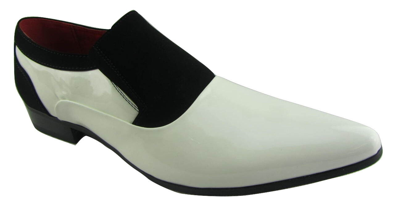 Rossellini Hackney Men shoes Black White Nubuck Leather Lined Pointed Wedding