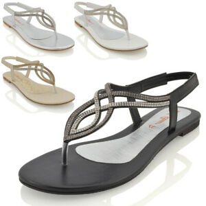 Mujer-T-Bar-Diamante-Brillante-Plana-Damas-Charol-Toe-Post-Sandalias-Zapatos-Talla