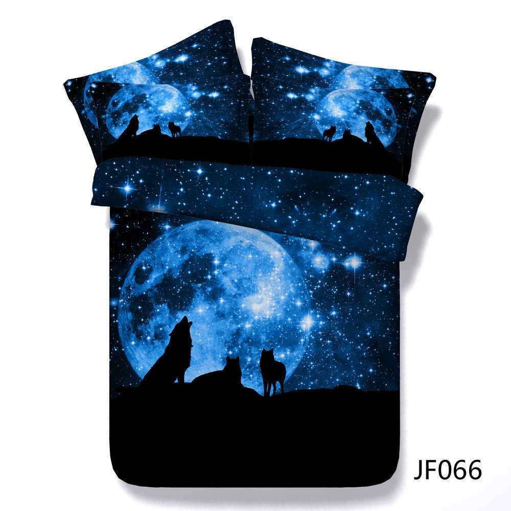 Wolf Moonlight 3D Printing Duvet Quilt Doona Covers Pillow Case Bedding Sets