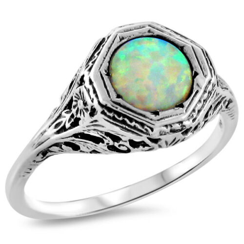 ART DECO WHITE LAB OPAL .925 STERLING SILVER SOLITAIRE RING SIZE 8 #432