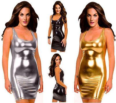 PLUS SIZE Women Wetlook Vinyl PVC Mini Dress Clubwear Bodycon L XL 2XL