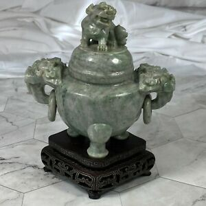 Antique-Chinese-Marbled-Jade-Foo-Dog-Vase-Sculpture-Incense-Burner-Carving