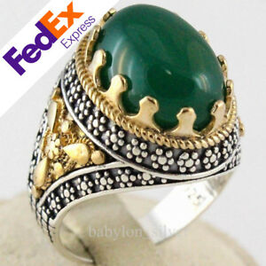 Natural Yellow Agate Stone 925 Sterling Silver Turkish Handmade Ottoman Men Ring