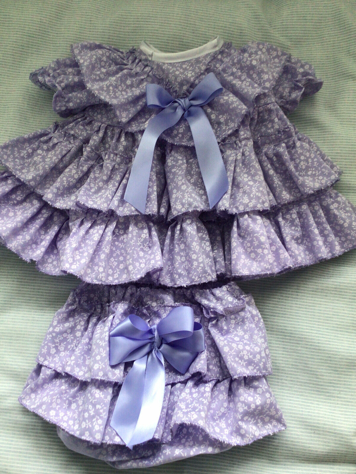 CLOTHES FOR BAby 3-6 Mths /REBORN doll 22inch Lilac Spanish two piece Dress Set