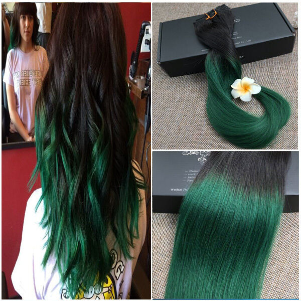 New European Remy Clip In Human Hair Extensions Straight Ombre 1b
