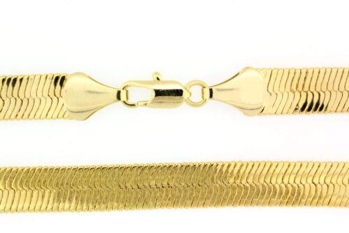 Men/'s Women/'s 14k Yellow Gold Finish Flat  Herringbone Chain Necklace 20~30 Inch
