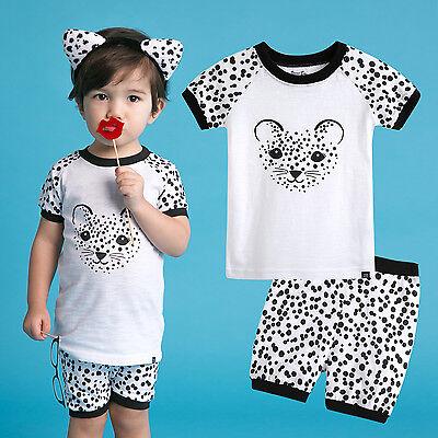"NWT Vaenait Baby Kids Girls Boys Clothes Short Pajama set ""Black Chitty"" 12M-7T"
