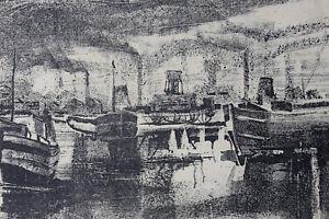 Joseph-Delattre-1858-1912-Boats-in-Port-Artist-039-s-Proof-Normandy-Rouen
