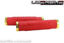Uberbike Fat Grip 150mm Lock on mountain bike Handlebar Grips Red/Gold