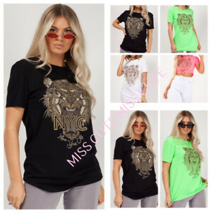 63854c497d7197 Details about WOMEN S LADIES GLITTER GOLD STUDED NYC TIGER PRINT TOP SHORT  SLEEVE NEON T SHIRT