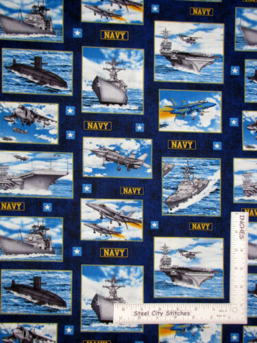 Military US Navy Aircraft Carrier Ship Scenes Blue Cotton Fabric RJR By The Yard