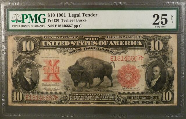 1901 $10 United States Note, PMG  VF25, FR 120, Net Graded, See Reverse Comment