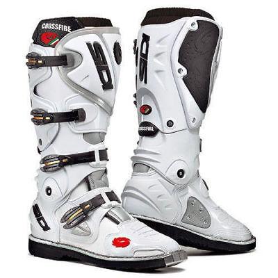 Sidi Crossfire Leather Motorbike Motorcycle Boots Sports White Eu47 UK12