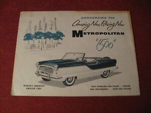 1956 Nash Metropolitan sales Brochure booklet Catalog Book Old Original