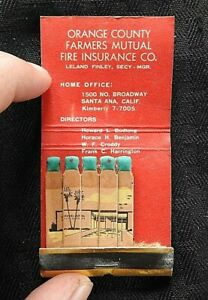 "1960 ""ORANGE COUNTY FARMERS MUTUAL FIRE INSURANCE Santa Ana CA Feature Matchbook"