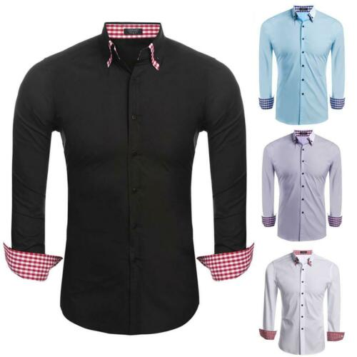 Solide Mens Casual Langarm Slim Doppel-Kragen Mode Button-Down-Hemd STTK