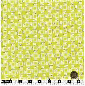 Quilting-Fabric-Lime-Green-White-Squares-amp-Leaves-Fat-Quarters-100-Cotton