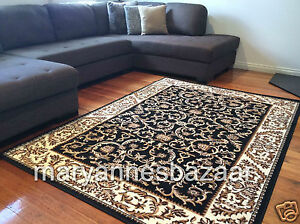 Image Is Loading Extra Large Floor Rug Traditional Black Free Delivery