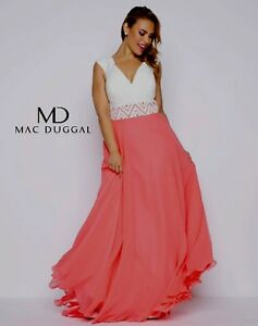 NWT-Size-26W-Mac-Duggal-77171-Ivory-Lace-with-Coral-skirt-Beaded-formal-gown
