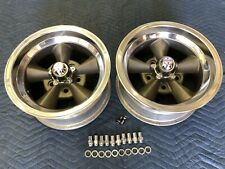Vintage Pair 5 Spoke Real Torque Thrust Style Polished Lip 14x7 4 34 Chevy