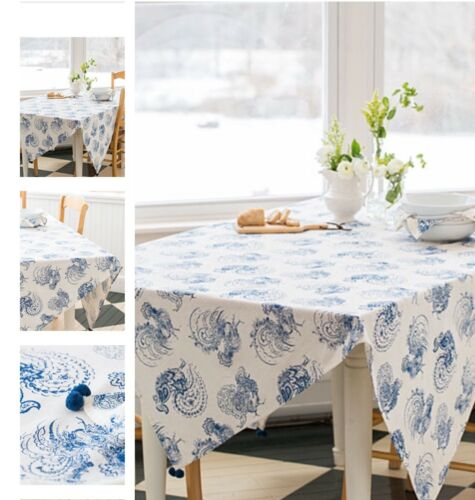 "48x72"" Rooster Tablecloth Blue"