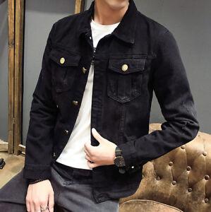Autumn-Men-039-s-Slim-Fit-Casual-Button-Up-Lapel-Denim-Jean-Jacket-Overcoat-Black